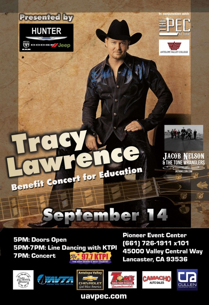 Tracy Lawrence will appear at Pioneer Event Center September 14, 2013 with opening act Jacob Nelson & The Tone Wranglers.